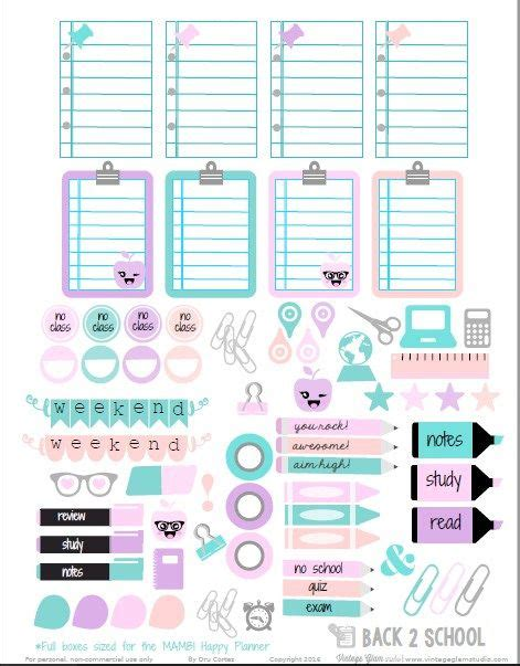 free printable planner stickers school back 2 school planner stickers free printable school