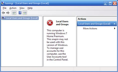 local users groups missing computer management vista home