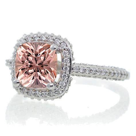 1.5 Carat Cushion Cut Designer Morganite and Diamond Halo ... 1 Carat Cushion Cut Halo Engagement Ring