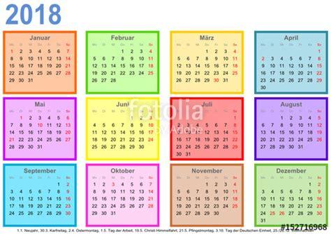 Kalender Dinding 1 2 Sisi Color 2 quot kalender 2018 jeder monat in einem andersfarbigen quadrat und mit feiertagen f 252 r deutschland