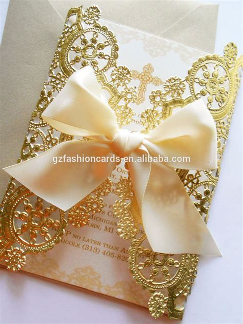 Non Paper Wedding Invitations by Doily Style Metallic Gold Invitation Foil Paper Wedding