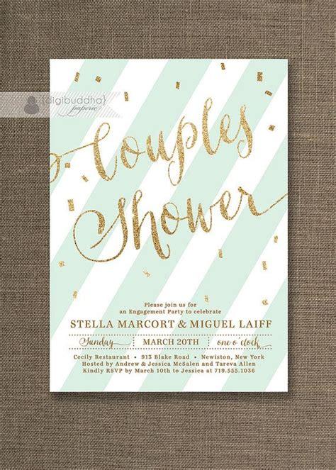 bridal shower invitations same day shipping mint green gold couples shower invitation glitter pastel