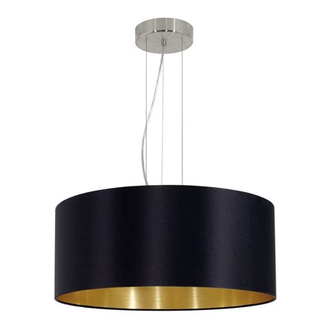 black and gold light eglo 31605 maserlo large black and gold fabric pendant light