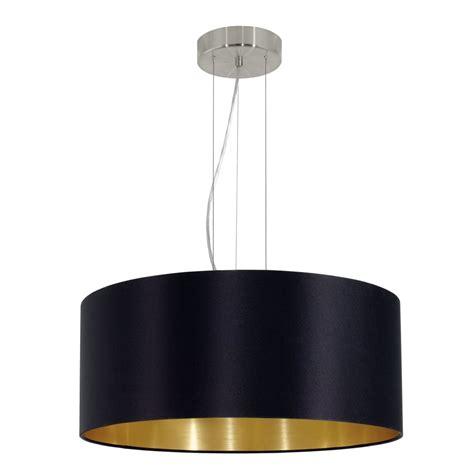 Eglo 31605 Maserlo Large Black And Gold Fabric Pendant Light Large Black Pendant Light