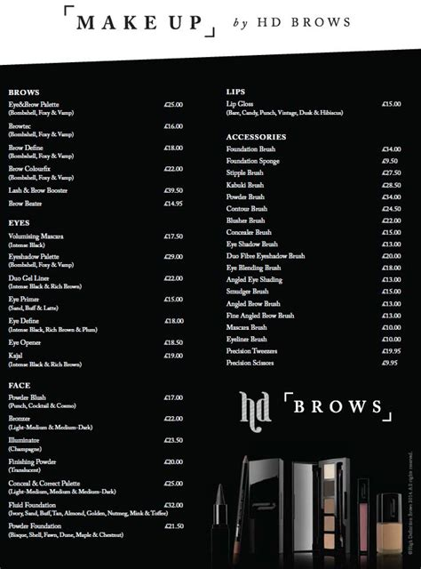 make price official make up by hd brows price list osheen
