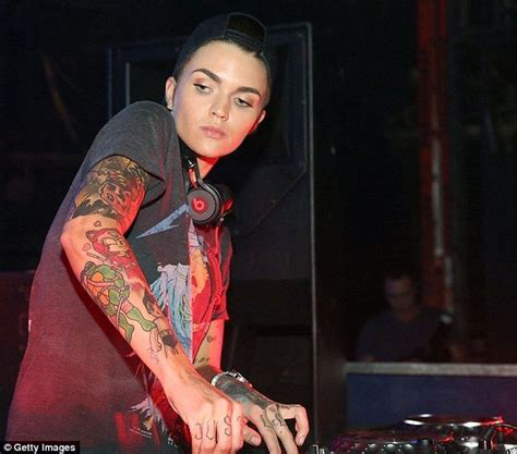 ruby rose flashes her arm tattoos performing in miami