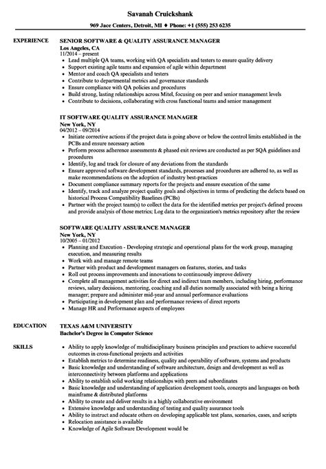 software quality assurance manager resume sles velvet