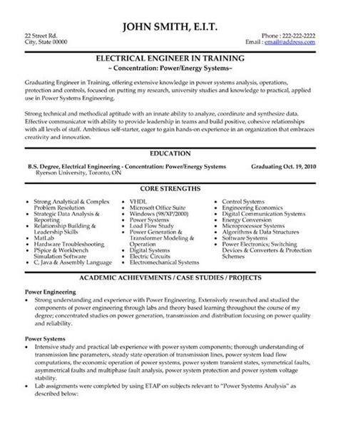Resume Templates For Engineering Click Here To This Electrical Engineer Resume Template Http Www Resumetemplates101