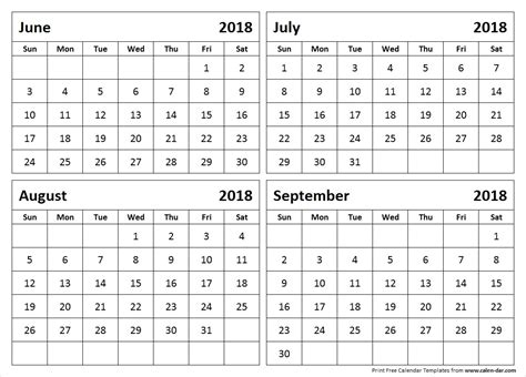 4 month calendar template june to september 2018 calendar 4 month calendar template
