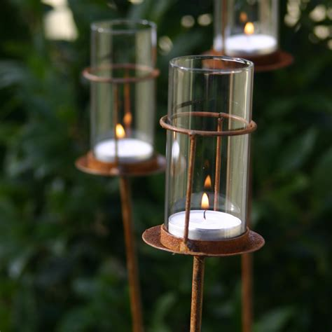 garden stake lights set of three tea light stakes puddy