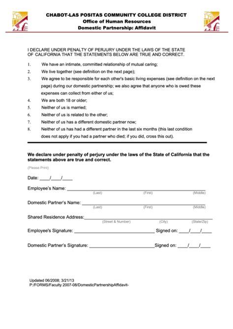 fillable domestic partnership affidavit form printable