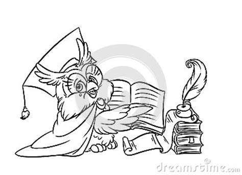 owl reading coloring page scientist owl reading a book stock images image 37935944