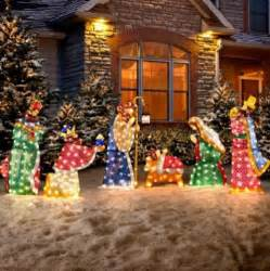 lighted outdoor nativity set 6 pc set outdoor lighted holy family wisemen nativity
