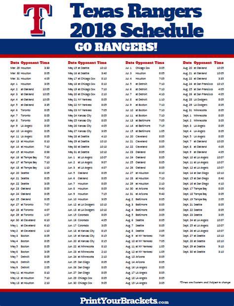 Printable Rangers Schedule | printable texas rangers baseball schedule 2018