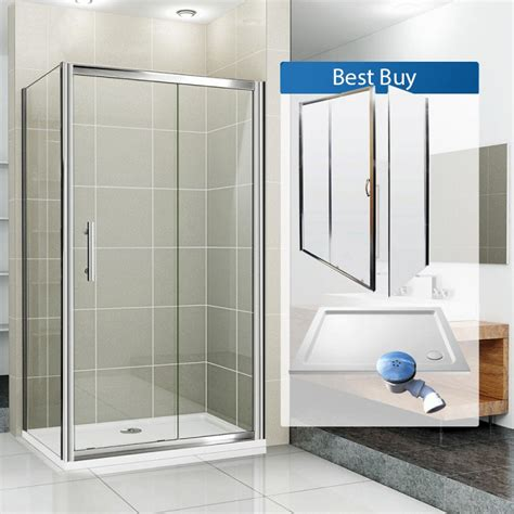 Shower Doors And Trays Aquaspa Deluxe 1200 X 760 Mm Sliding Shower Enclosure Bundle Shower Enclosures Direct