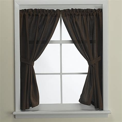 Bathroom Shower Curtains And Window Curtains Westerly Bath Window Curtain Pair In Mocha Bed Bath Beyond