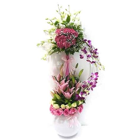 Flowers With Vase Delivery by Mixed Flower Vase Carnation Lilly Orchid