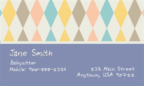 babysitting business cards templates free printable blue babysitting business card design 1101181