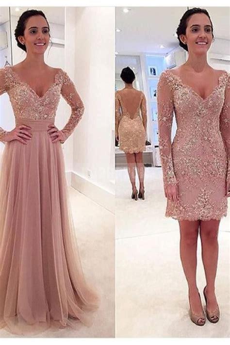 dressing beautifully for dinner v neck long sleeves attachable skirt evening dress