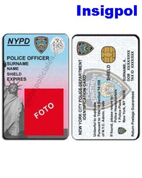 nypd id card template nypd officer custom id card official nypd