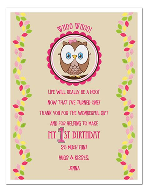 Thank You Card Template For Birthday Giveaways by Owl Birthday Mommas