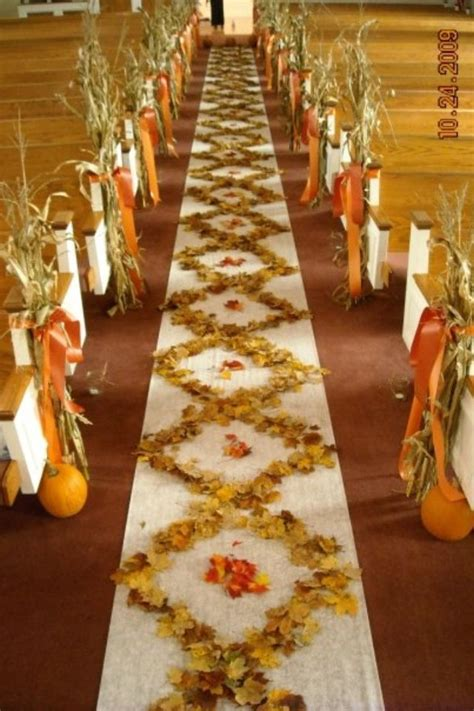 Wedding Aisle With Leaves by Fall Wedding Corn On The Pews And Leaves On The Aisle