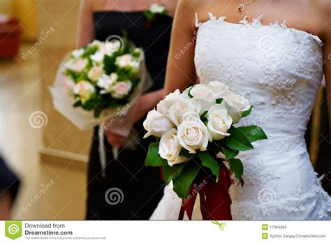 wedding bouquet in hand bride stock images