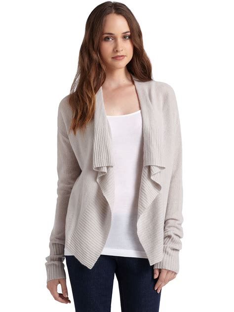 draped cardigans lyst inhabit cashmere draped cardigan in natural