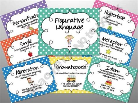 printable personification poster polka dot figurative language posters education word