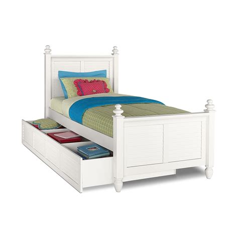 beds twin seaside white twin bed with trundle value city furniture