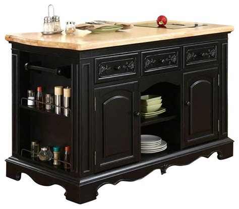 powell kitchen island powell pennfield butcher block black kitchen island transitional kitchen islands and kitchen