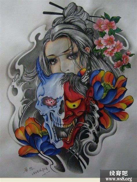 红蓝般若和女子刺青线稿素材图