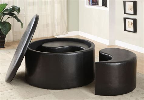 round coffee table with storage ottomans houston round storage cocktail table with 2 kidney