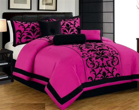 hot pink bedroom set 7 pc pink black luxury flocking comforter set queen size