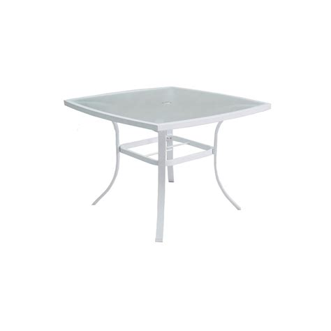 Square Patio Table Shop Allen Roth Park Glass Top White Square Patio Dining Table At Lowes