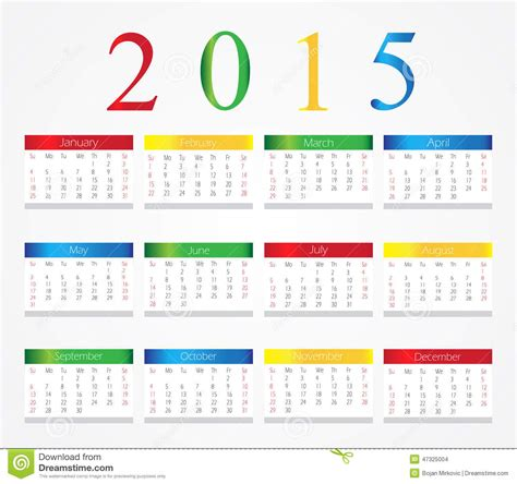 Calendario De Letra Calendario Colorido 2015 De La Letra Ilustraci 243 N