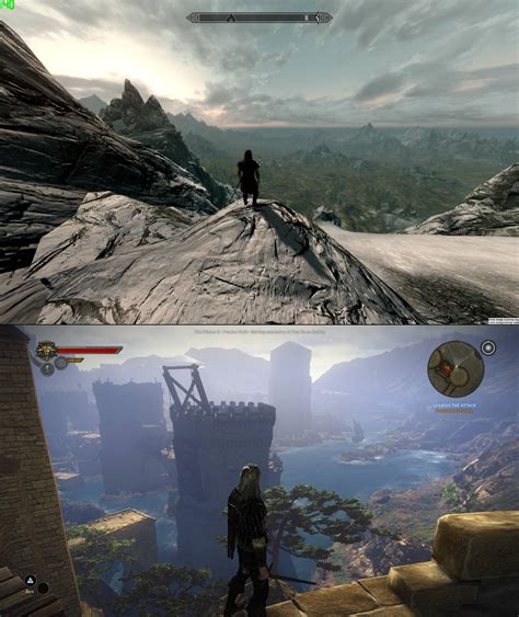 skyrim  witcher  screenshot comparison battle