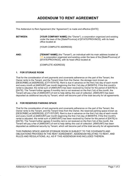 addendum template contract addendum template template design