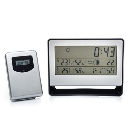 Weather Station Humidity Temperature Alarm Desk Clock Jam Alarm digital temperature humidity clock with wireless outdoor thermometer hygrometer home weather