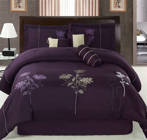 purple queen bedding 7pcs queen purple floral embroidered comforter set ebay