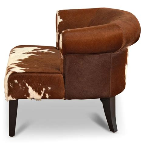 cowhide armchairs arama rustic lodge brown white cowhide wood living room