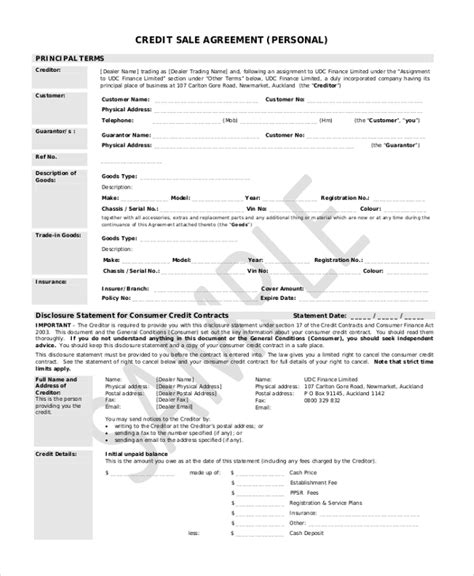 Credit Agreement Sle Free 10 Sle Sales Agreement Forms Free Sle Exle Format