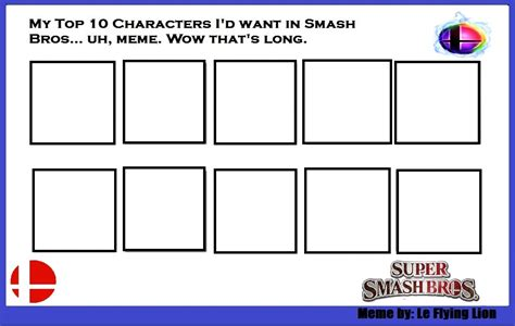 Popular Meme Templates - top 10 characters you d want for ssb meme blank by