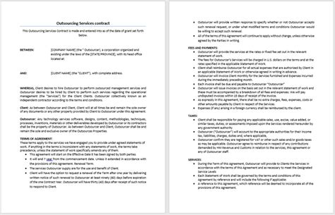 outsourcing services contract template microsoft word