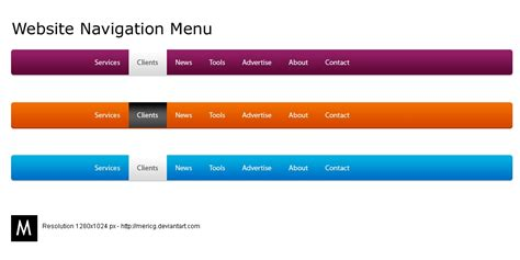 what website website navigation menu by mericg on deviantart