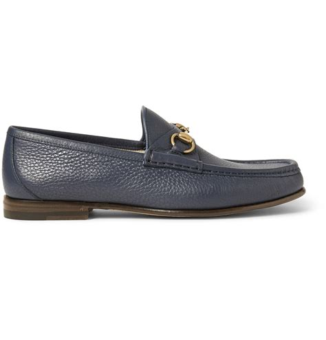 blue leather loafers gucci horsebit grained leather loafers in blue for lyst