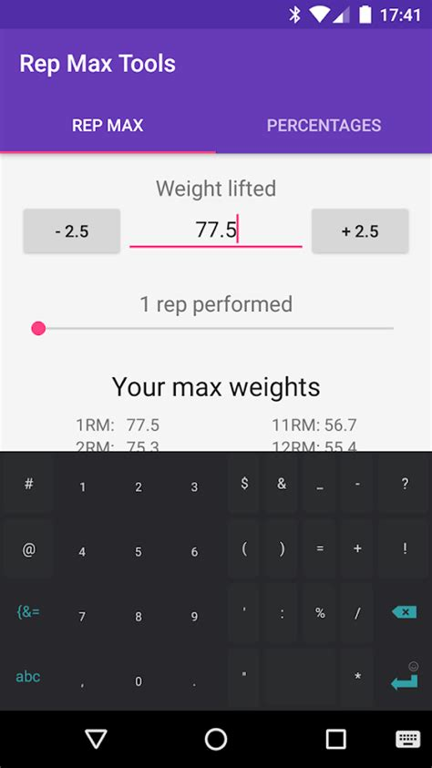 one rep max calculator bench rep max tools 1rm calculator android apps on google play