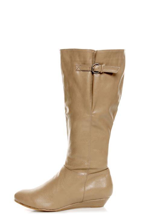 qupid nesha 70 taupe knee high sliver wedge boots 34 00