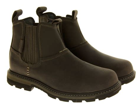 skechers boots s new mens skechers leather ankle boots smart casual slip on