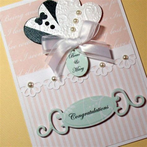 Handmade Wedding Cards Etsy - wedding card and groom hearts card bridal shower